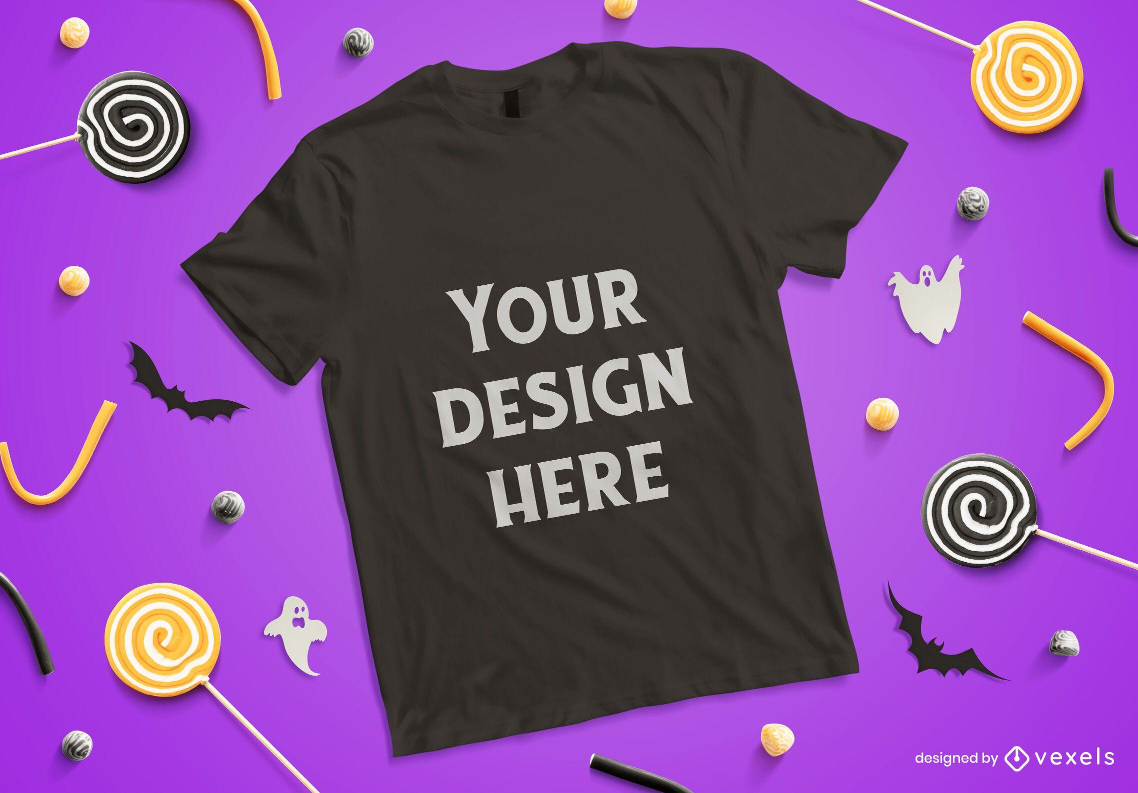Composição de maquete de camiseta de Halloween