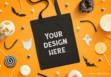 Composición de maqueta de bolso de mano de Halloween