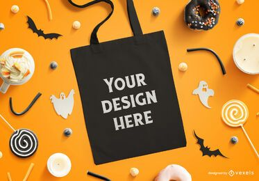Halloween tote bag mockup composition