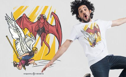 Diseño de camiseta ángel vs demonio