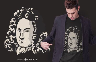 Diseño de camiseta de retrato de Leibniz
