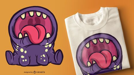 Monster open mouth t-shirt design