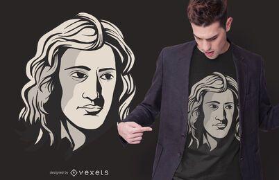 Diseño de camiseta de retrato de Newton