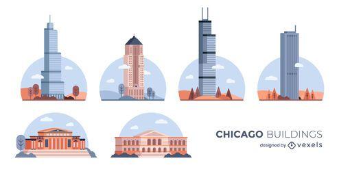 Pacote de construção de Chicago Flat Design