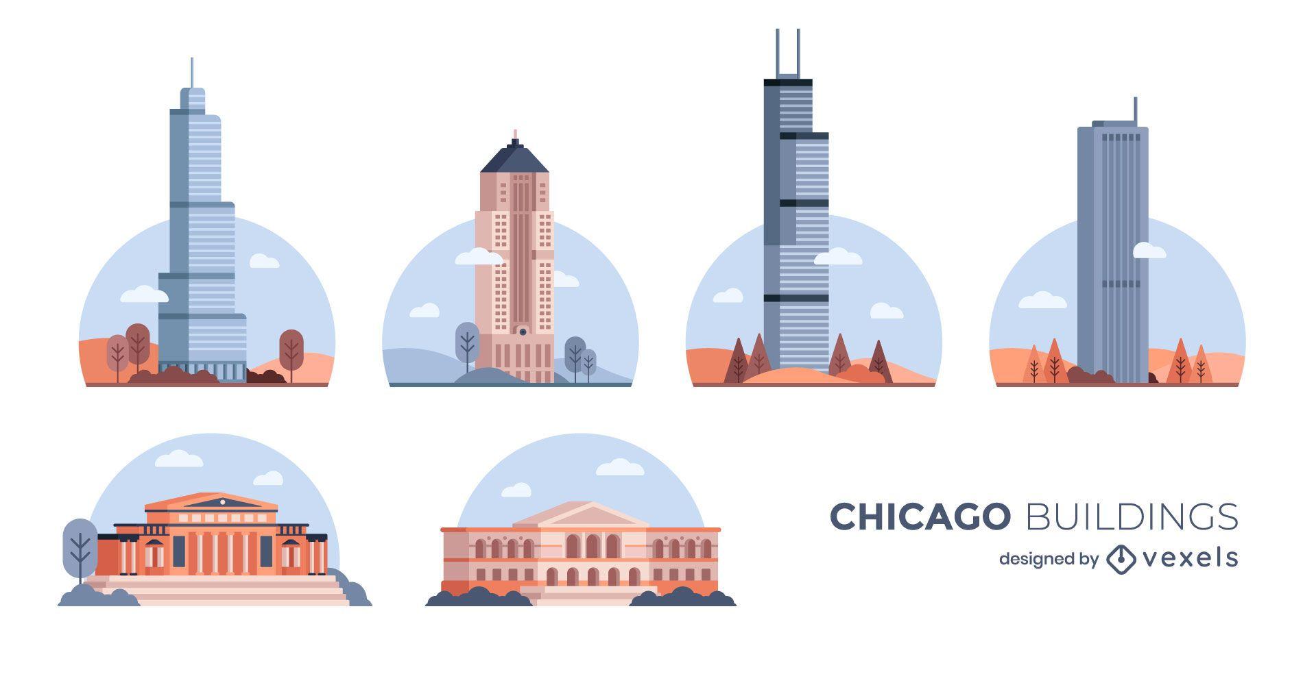 Pacote de construção do Chicago Flat Design
