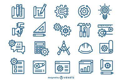 Pacote de ícones de traços de engenharia