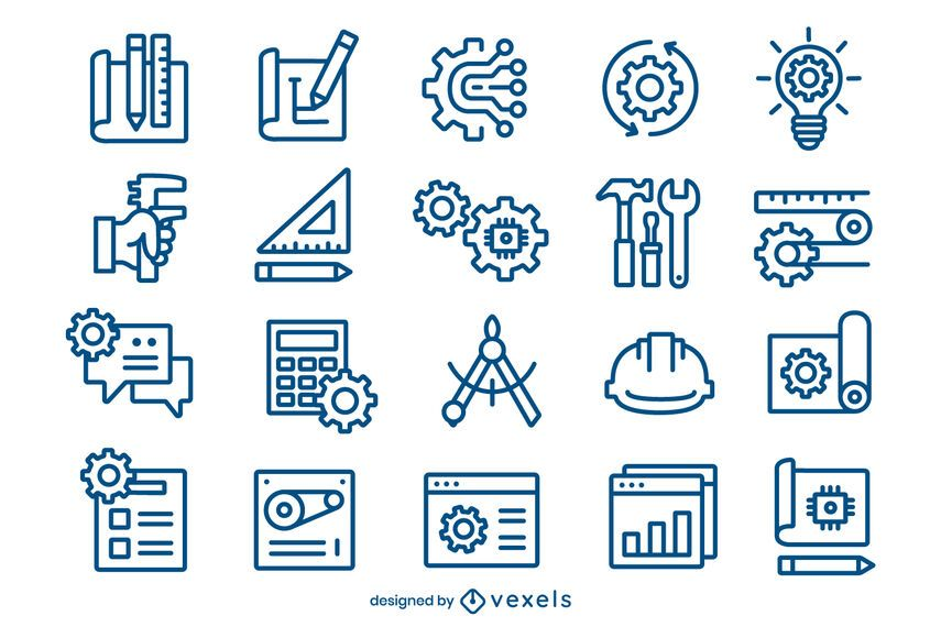 Paquete de iconos de trazo de ingeniería