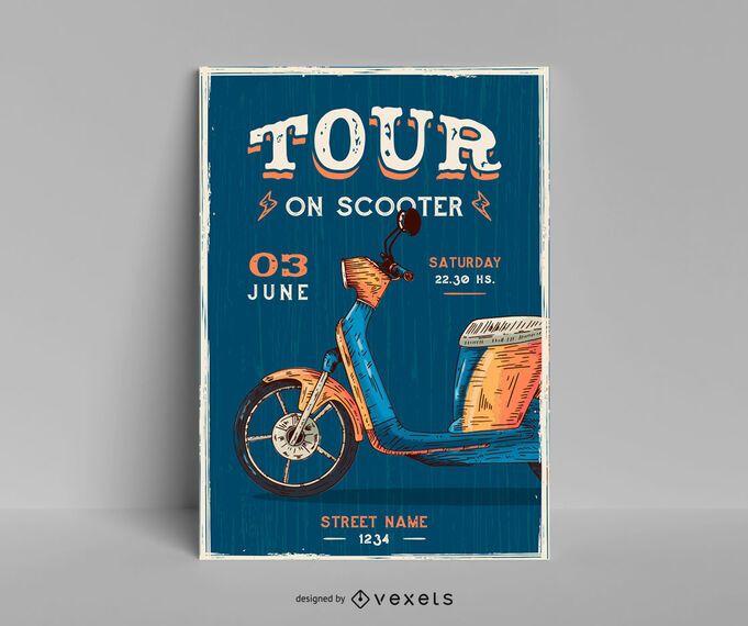 Tour no design de cartaz de scooter