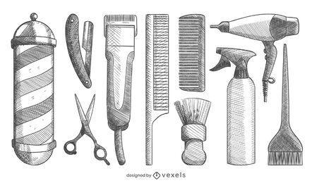 Conjunto de elementos de barbeiro desenhado de mão