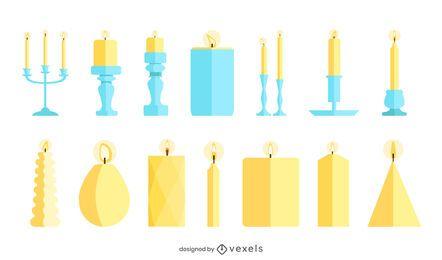 Pacote de velas de design plano