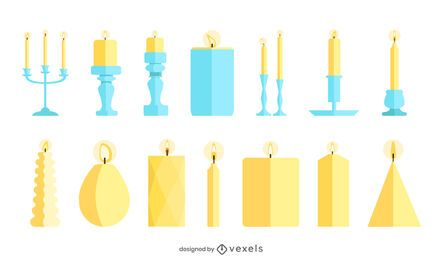 Paquete de velas de diseño plano