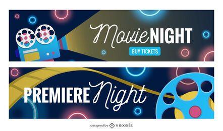 Conjunto de banners de noche de película