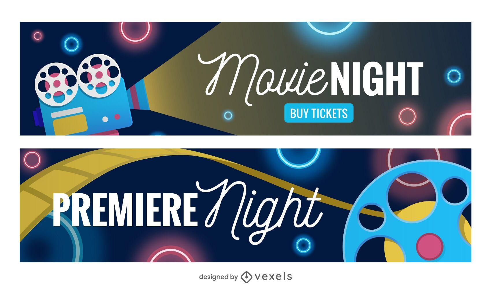 Movie night banner set