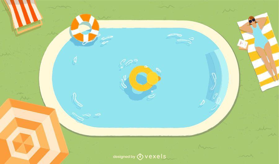 Diseño de piscina recreativa de verano