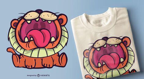 Diseño de camiseta de león de dibujos animados