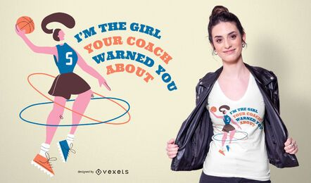 Design de camiseta com citação de menina basquete