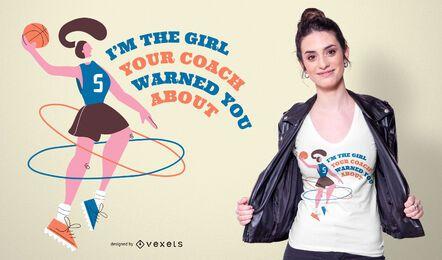 Diseño de camiseta de cita de niña de baloncesto