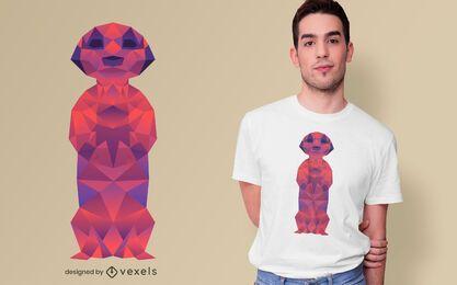 Diseño de camiseta poligonal Meerkat