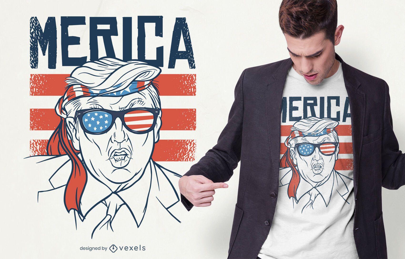 Diseño de camiseta Merica Trump