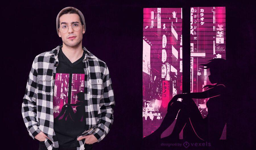 Diseño de camiseta de silueta de niña Cyberpunk