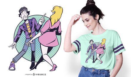 Design de camisetas de casal roqueiro