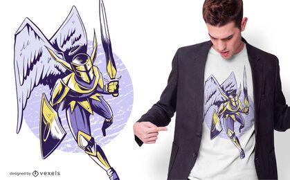 Projeto do t-shirt do anjo do cavaleiro