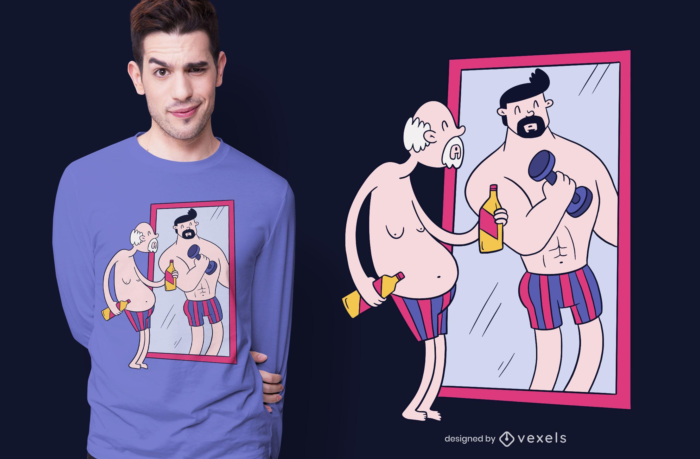 Old Man Mirror T-shirt Design