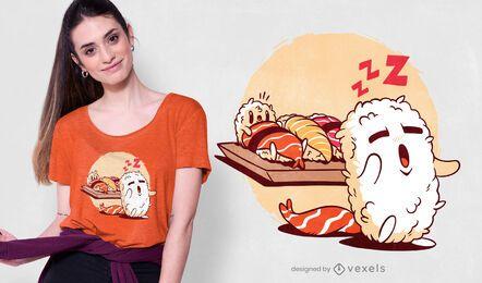 Diseño de camiseta de sushi sonámbulo