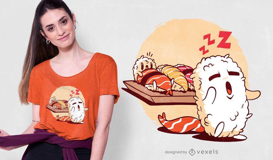 Design de t-shirt de Sushi sonâmbulo