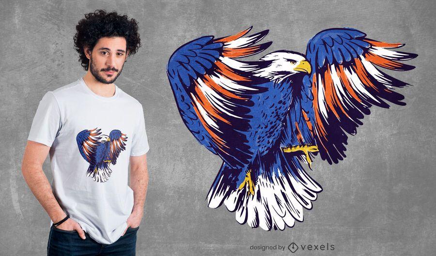 Design de t-shirt de ilustração de águia americana