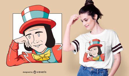 Diseño de camiseta de dibujos animados de Wonka Meme
