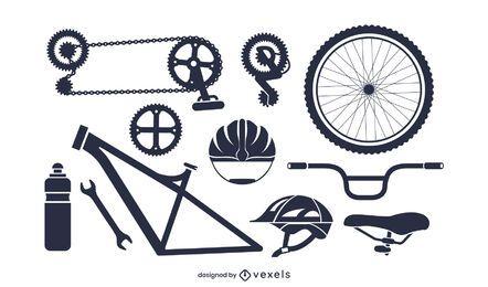 Pacote de silhueta de peças de bicicleta