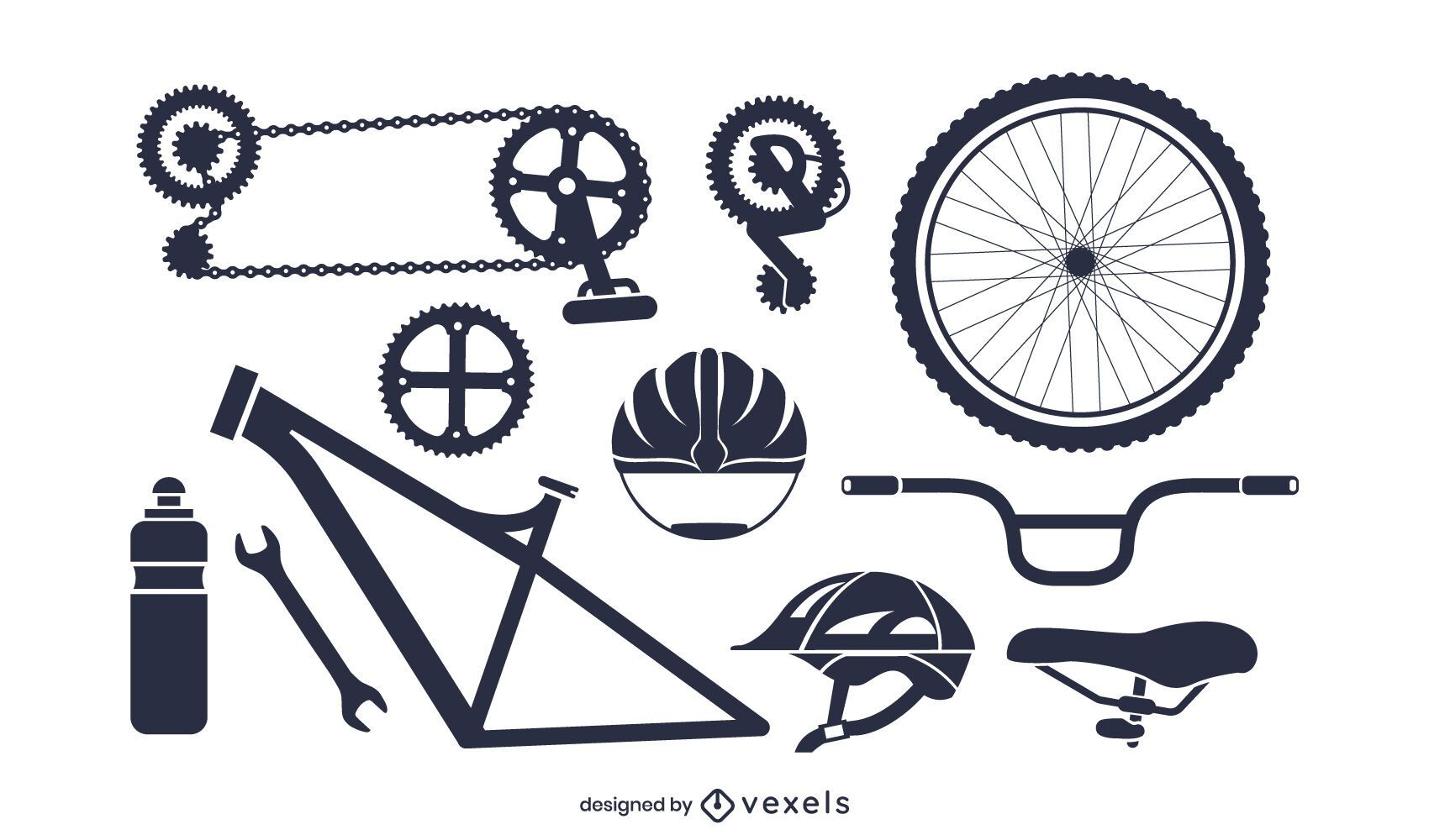 Paquete de silueta de piezas de bicicleta