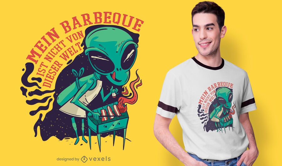 Alien BBQ german t-shirt design