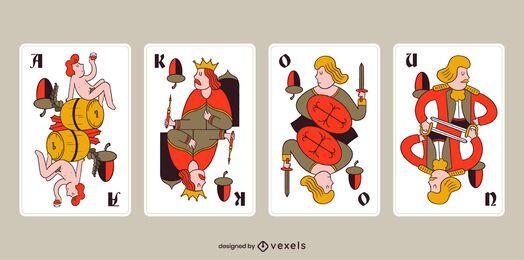 Paquete de tarjetas de bellota Tarock bávaro