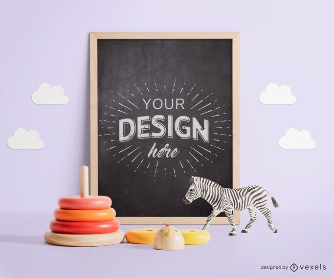 Toys chalkboard mockup composition