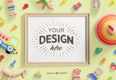 Kids toys frame mockup composition