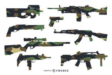 Gewehr-Silhouetten mit Tarnung