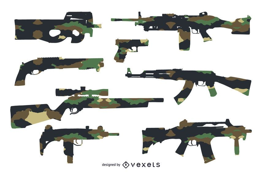 Gun Silhouettes set with camouflage