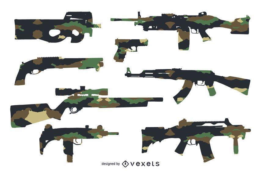 Set de siluetas de armas con camuflaje.