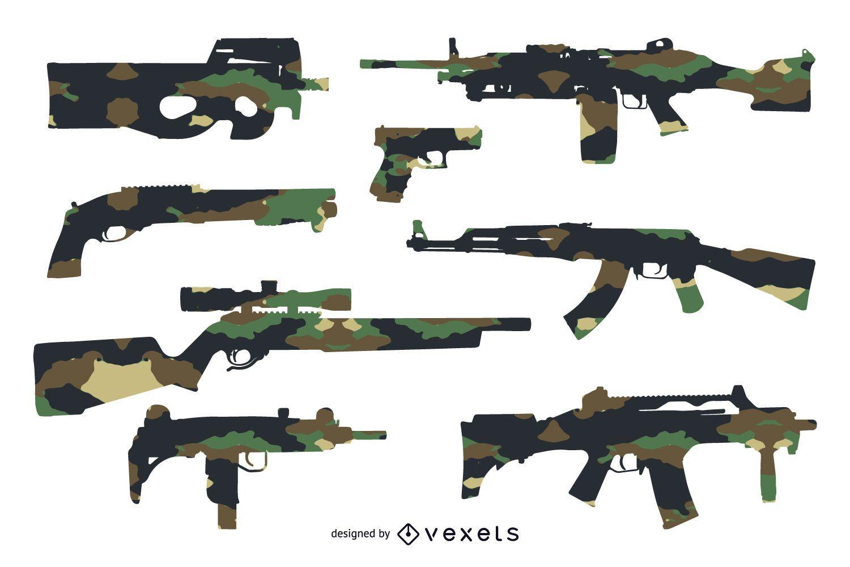 Siluetas de pistola con camuflaje - Descargar vector