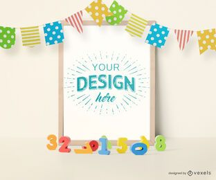 Toys pennants frame mockup composition