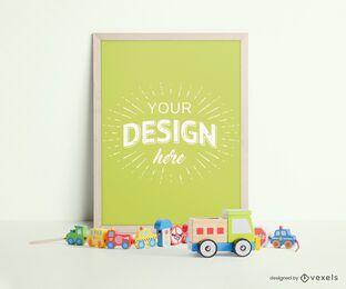 Childrens toys frame mockup composition