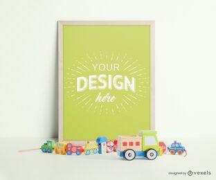 Composición de maqueta de marco de juguetes para niños
