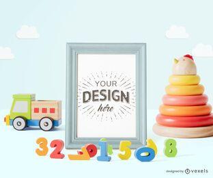 Composición de maqueta de póster de marco de juguetes