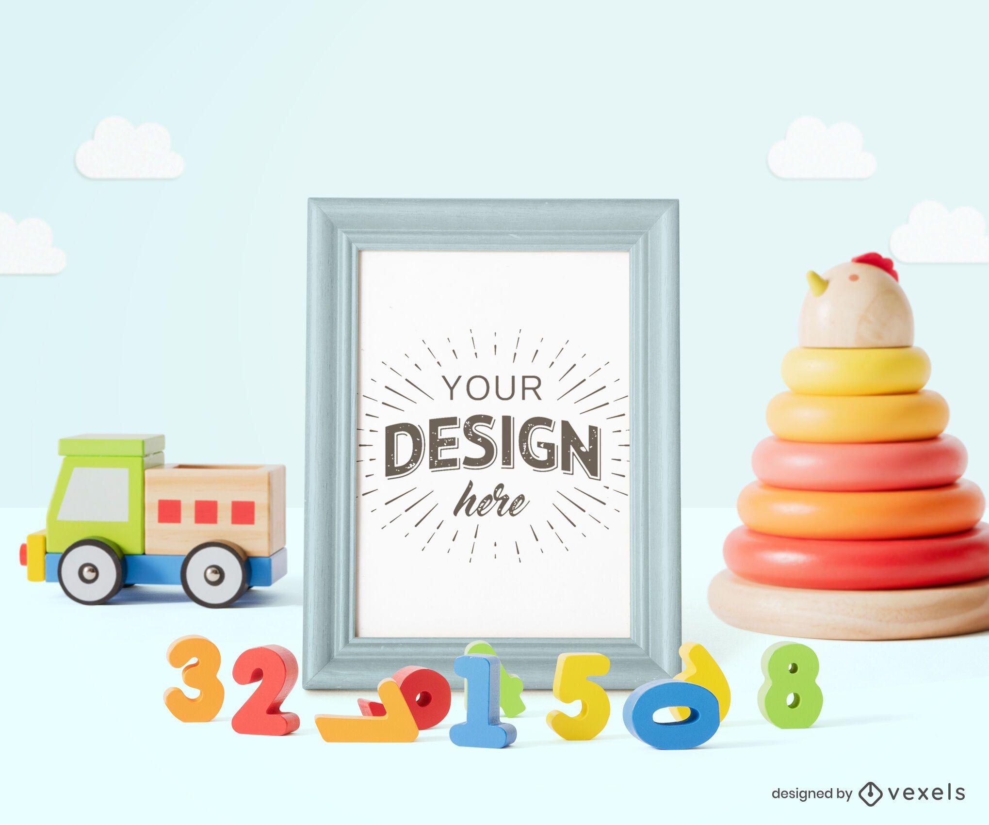Toys frame poster mockup composition
