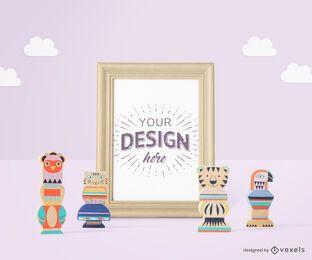 Composición de maqueta de marco de póster de juguetes