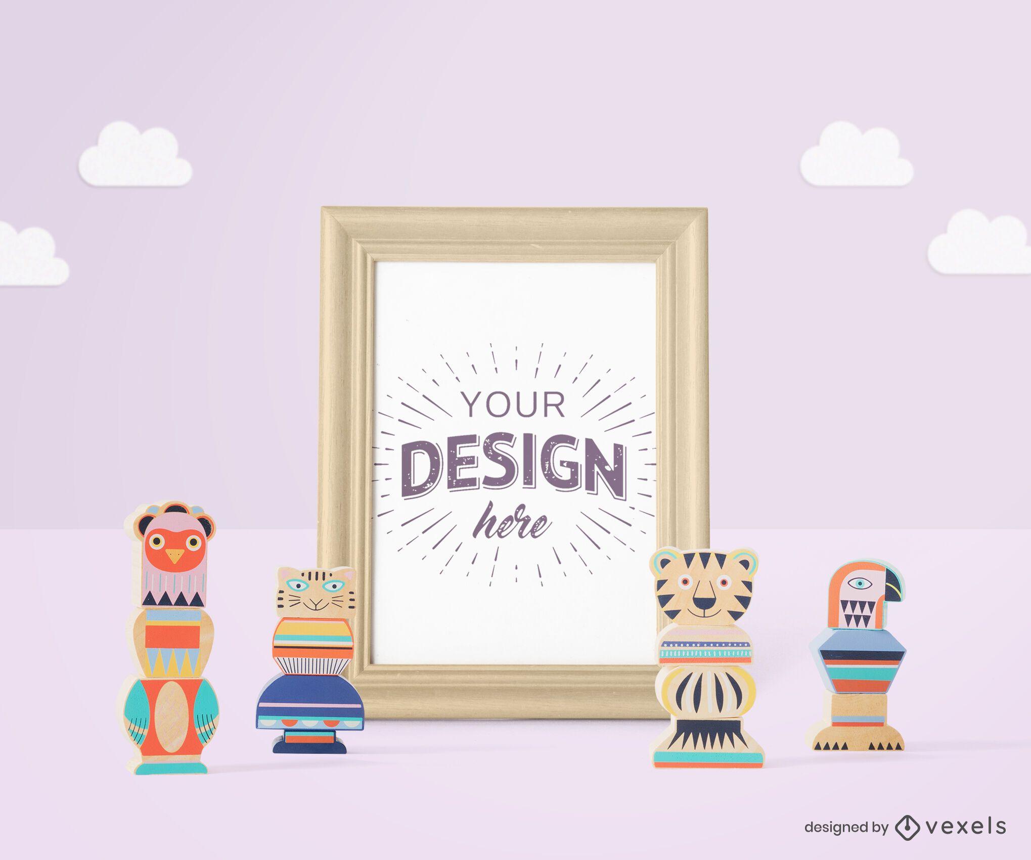 Toys poster frame mockup composition