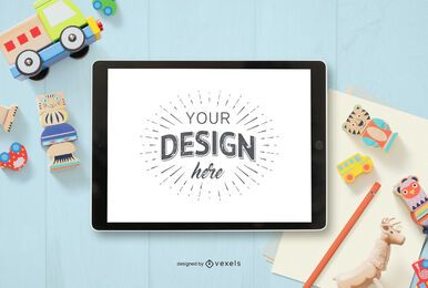 Kids toys ipad mockup composition