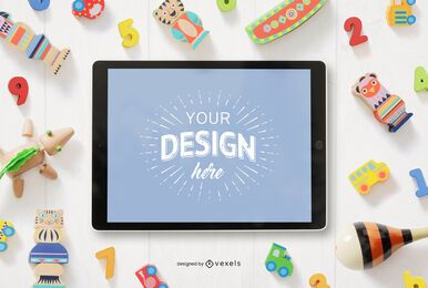 Children's toys ipad mockup composition